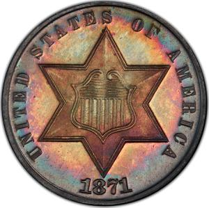 United States / Three Cents 1871, Silver - obverse photo