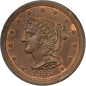 United States / Half Cent 1854 Braided Hair - obverse photo