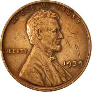 United States / One Cent 1939 Wheat Penny - obverse photo