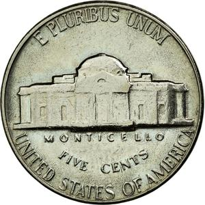United States / Five Cents 1966 Jefferson Nickel - reverse photo