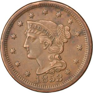 United States / One Cent 1853 Braided Hair - obverse photo