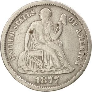 United States / One Dime 1877 Seated Liberty - obverse photo
