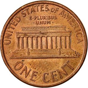 United States / One Cent 1991 Lincoln Memorial - reverse photo
