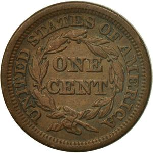 United States / One Cent 1848 Braided Hair - reverse photo