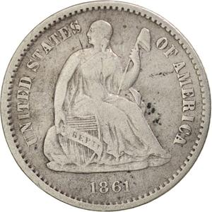 United States / Half Dime 1861 Seated Liberty - obverse photo