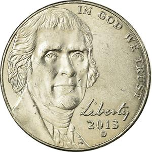 United States / Five Cents 2013 Jefferson Nickel - obverse photo