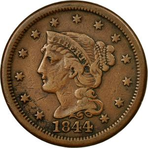 United States / One Cent 1844 Braided Hair - obverse photo