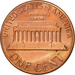 United States / One Cent 1984 Lincoln Memorial - reverse photo