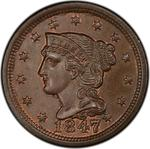 United States / One Cent 1847 Braided Hair / Large 7 over small 7 - obverse photo