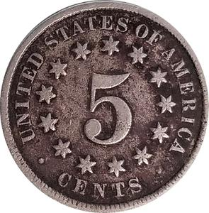 United States / Five Cents 1876 Shield Nickel - reverse photo