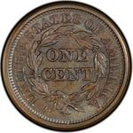 United States / One Cent 1844 Braided Hair / 1844/81 overdate - reverse photo