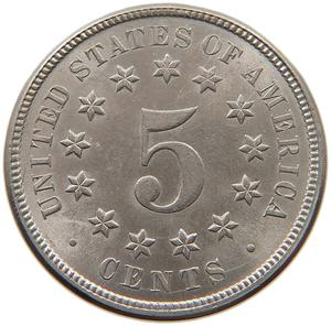 United States / Five Cents 1872 Shield Nickel - reverse photo