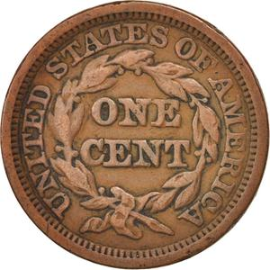United States / One Cent 1849 Braided Hair - reverse photo