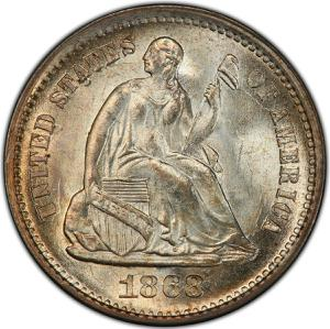 United States / Half Dime 1868 Seated Liberty - obverse photo