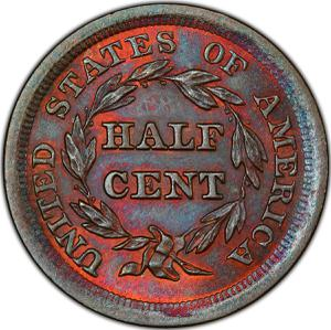 United States / Half Cent 1855 Braided Hair - reverse photo