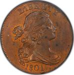 United States / One Cent 1801 Draped Bust / 1/100 on 1/000 - obverse photo