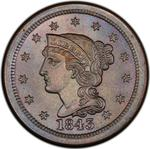 United States / One Cent 1843 Braided Hair / Mature head, large letters - obverse photo