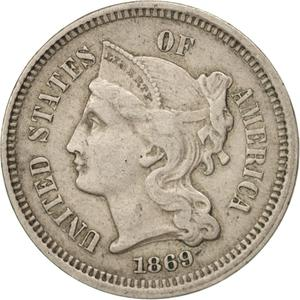 United States / Three Cents 1869, Nickel - obverse photo