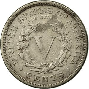 United States / Five Cents 1890 Liberty Head Nickel - reverse photo