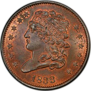 United States / Half Cent 1833 Classic Head - obverse photo