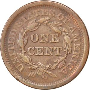 United States / One Cent 1851 Braided Hair - reverse photo