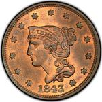 United States / One Cent 1843 Braided Hair / Small head, large letters - obverse photo