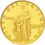 Vatican / One Hundred Lire 1955 Gold - reverse photo