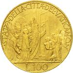 Vatican / One Hundred Lire 1950 Gold - reverse photo