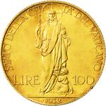 Vatican / One Hundred Lire 1932 Gold - reverse photo