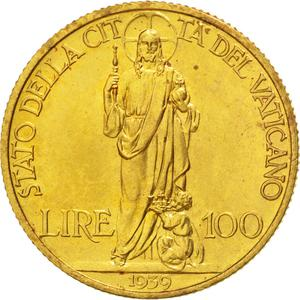 Vatican / One Hundred Lire 1939 Gold - reverse photo
