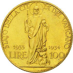 Vatican / One Hundred Lire 1933-1934 Gold - reverse photo