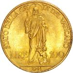 Vatican / One Hundred Lire 1941 Gold - reverse photo