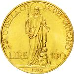 Vatican / One Hundred Lire 1929 Gold - reverse photo