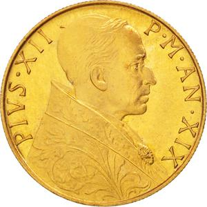 Vatican / One Hundred Lire 1957 Gold - obverse photo