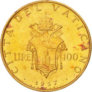 Vatican / One Hundred Lire 1957 Gold - reverse photo