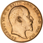 King Edward VII - Portrait by George William de Saulles (Bare Head): Photo Specimen Coin - Sovereign, Canada, 1908