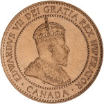 Portrait by George William de Saulles (Crowned Bust): Photo Specimen Coin - 1 Cent, Canada, 1908