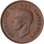King George VI - Bare Head, by Thomas Humphrey Paget: Photo Proof Coin - 1 Penny, South Africa, 1937