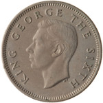 King George VI - Bare Head, by Thomas Humphrey Paget: Photo Coin - 1 Shilling, New Zealand, 1951