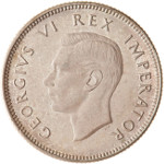 King George VI - Bare Head, by Thomas Humphrey Paget: Photo Coin - 1 Shilling, South Africa, 1938