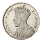 Portrait by Percy Metcalfe (Crowned Bust): Photo Proof Coin - 1/2 Crown, New Zealand, 1933