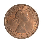 Portrait by Mary Gillick (First Portrait): Photo Coin - 1 Penny, New Zealand, 1956